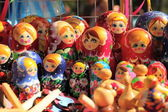 Russian nested dolls matryoshka at the fair — Stock Photo