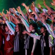 Large group of happy teens sings together — Stock Photo #41701689