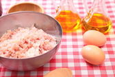 Minced fish in the bowl and spices — Stock Photo