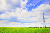 Pylon och överföring kraftledning — Stockfoto