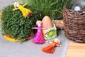 Still-life with straw dolls — Stock Photo