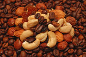 Coffee and nuts — Stock Photo
