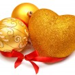 Christmas ball and heart — Stock Photo