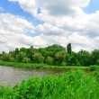The river, trees against the blue sky — Stockfoto