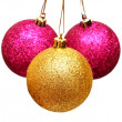Three christmas balls — Stock Photo