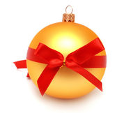 Christmas ball with ribbons — Stock Photo