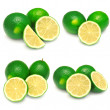 Collection of sliced limes — Stock Photo
