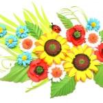 Sunflowers, daisies, ladybug paper origami-style — Stock Photo