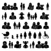 People and family icons set — Stock Vector