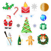 Christmas and New Year icons, eps 10 — Stock Vector