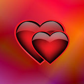 Two ardent hearts on iridescent background, eps10 — Stockvector