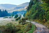 Mgliste rano jesień krajobraz górski — Zdjęcie stockowe