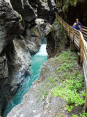 Family and Liechtensteinklamm gorge (Austria) — Stock Photo