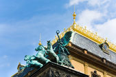 Three horse chariot on Prague National Theatre (Czech Republic) — Stock Photo