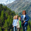 Family  and summer Matterhorn mountain (Alps) - Stock Photo