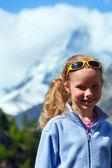 Girl and summer Matterhorh mountain, Alps — Stock Photo