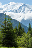 Mont Blanc mountain massif (view from Plaine Joux outskirts) — Stock Photo