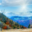 Autumn morning mountain - Stock Photo