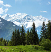 Mont Blanc mountain massif (view from Plaine Joux outskirts) — 图库照片