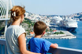 Family on bridge looking at port (Dubrovnik , Croatia) — Stock Photo