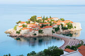 The morning view of Sveti Stefan sea islet (Montenegro) — Stock Photo