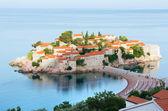 The morning view of Sveti Stefan sea islet (Montenegro) — Stock Photo