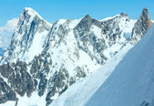 Mont Blanc mountain massif (view from Aiguille du Midi Mount, F — Stock Photo