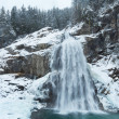 Alps waterfall winter view — Stock Photo