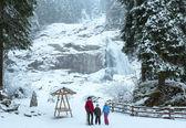 Alpy vodopád zimní pohled — Stock fotografie
