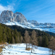 Beautiful winter rocky mountain landscape (Great Dolomites Road) — Stock Photo #19424611