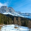 Beautiful winter rocky mountain landscape (Great Dolomites Road) — Stock Photo