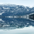 Stock Photo: Alpine winter lake Grundlsee panorama.