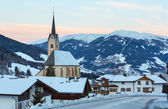 Mountain winter Kartitsch village and sunrise (Austria). — 图库照片