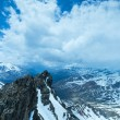 Stock Photo: Alp flowers over mountain precipice and clouds