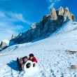 Wedding ring from the snow on mountainside. — Stock Photo #19914965