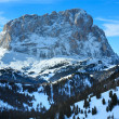 Stock Photo: Morning winter Gardena Pass in Dolomites of South Tyrol, Italy.