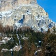 Morning winter Gardena Pass  in Dolomites of South Tyrol, Italy. - Stockfoto