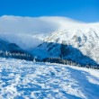 Stock Photo: Morning winter mountain panorama.