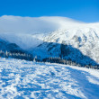 Morning winter mountain panorama. - Stock Photo