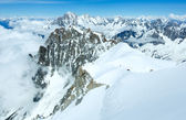 Mont Blanc mountain massif (view from Aiguille du Midi Mount, Fr — Stock Photo