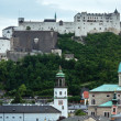 Summer Hohensalzburg Fortress (built in 1077) on mountain top (S — Stock Photo