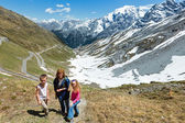 Summer Stelvio Pass (Italy) and family — Stock Photo