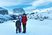 Morning winter Gardena Pass in Dolomites and family. — Stock Photo