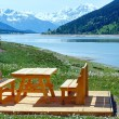 Stock Photo: Reschensee summer landscape (Austria).