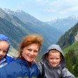 Family portrait in Alps mountain - Stock Photo