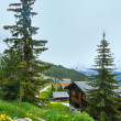 Bettmeralp village summer view (Switzerland) - Stock Photo