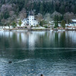 Alpine winter lake view - Foto Stock