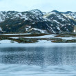 Stock Photo: Alps mountain lake (spring panorama).