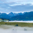 Sunrise and summer misty mountain country panorama — Stock Photo