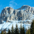 Stock Photo: Beautiful winter rocky mountain landscape (Great Dolomites Road)